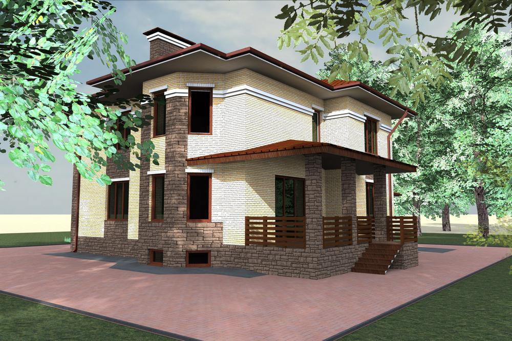 Мажордом F-045. Проект двухэтажного цокольного дома с гаражом, спортзалом и сауной, на 5 спален