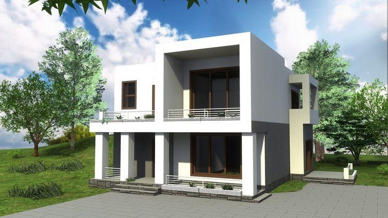 Меценат B-174. Проект современного двухэтажного дома с тремя спальнями
