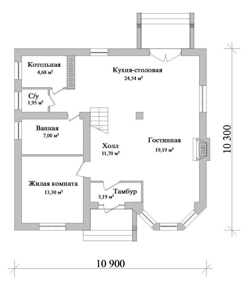 Мелон B-164. Проект небольшого мансардного коттеджа на 3 спальни, с современной планировкой