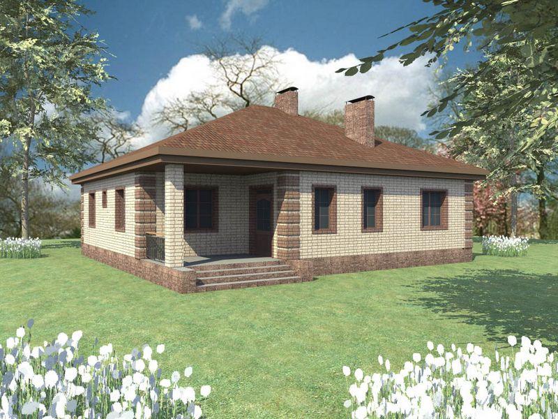 Мервин B-082. Проект одноэтажного коттеджа на 3 спальни, с террасой
