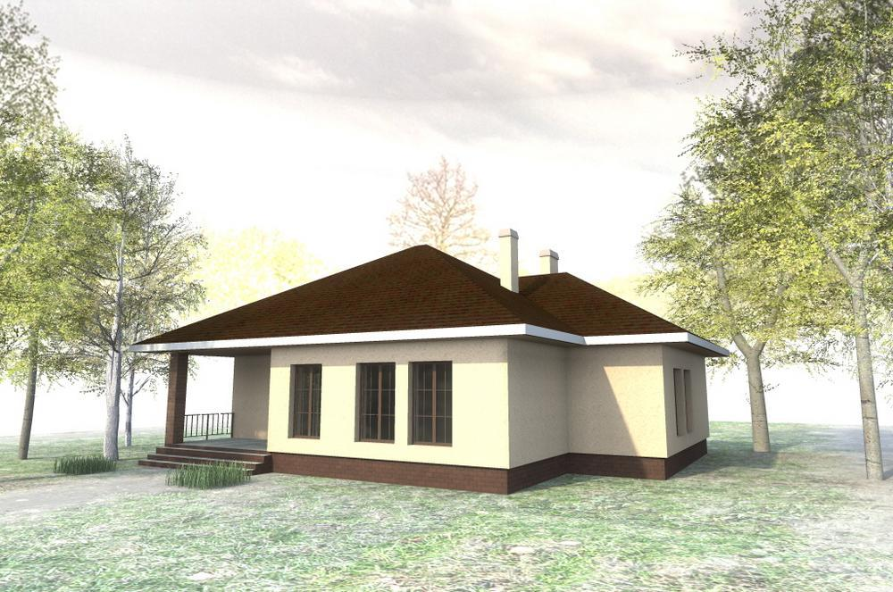 Месхи C-153. Проект одноэтажного дома на 2 спальни, с гаражом и террасой