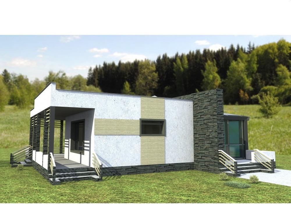Метаморфоза C-175. Проект одноэтажного дома с двумя спальнями, террасой и зимним садом