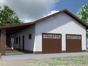 Метрон G-054. Проект гаража на два авто, с баней и террасой