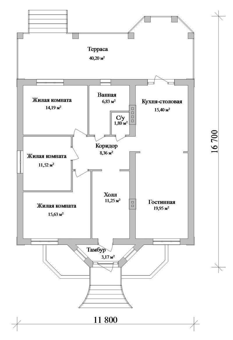 Мичман B-187. Проект одноэтажного дома с тремя спальнями, с большой террасой