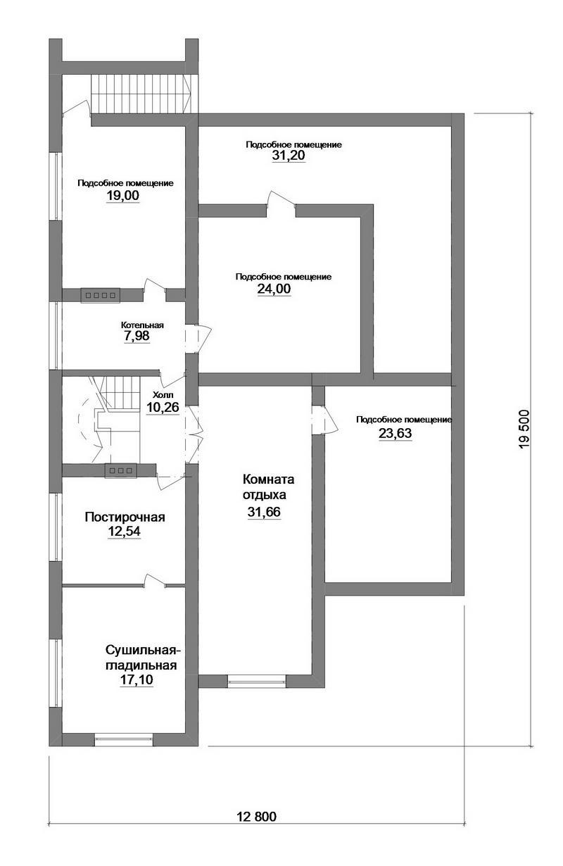 Миллениум парк F-065. Проект мультифункционального мансардного дома с цокольным этажом и террасой, на 4 спальни