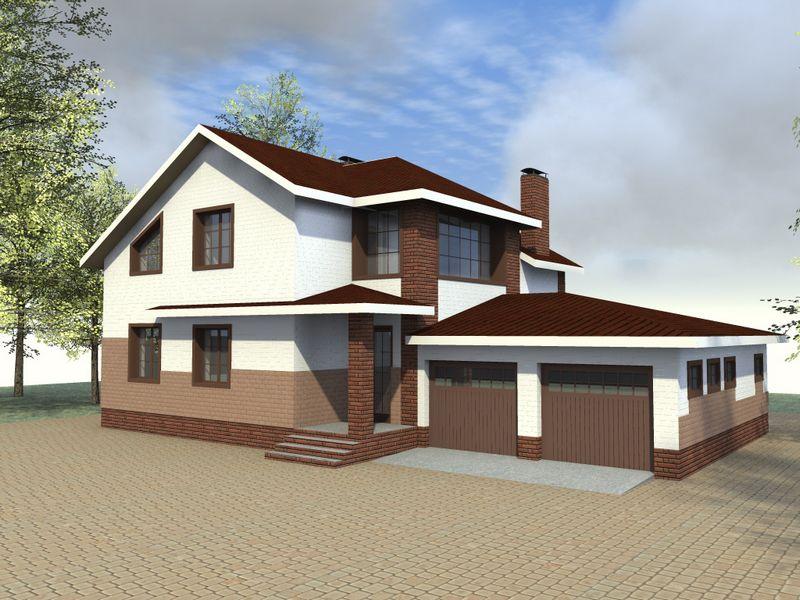 МИРАНДА D-060. Проект мансардного коттеджа на 4 спальни, с тренажёрным залом и гаражом на 2 авто