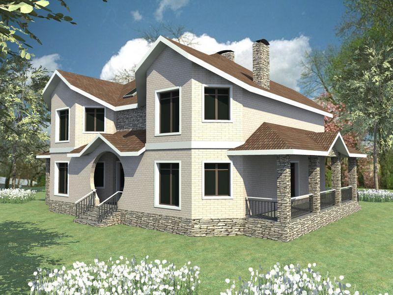 МИРАЖ F-048. Проект большого двухэтажного дома на две семьи
