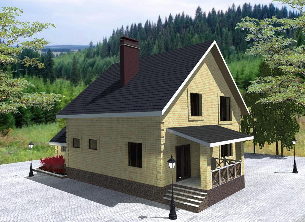 МИРТ C-192. Проект дома с мансардой, террасой, на 4 спальни