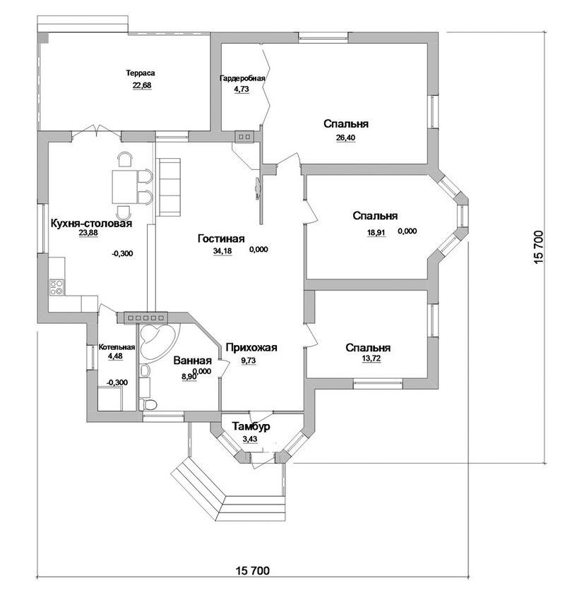 Мокита C-137. Проект одноэтажного дома с тремя спальнями и террасой