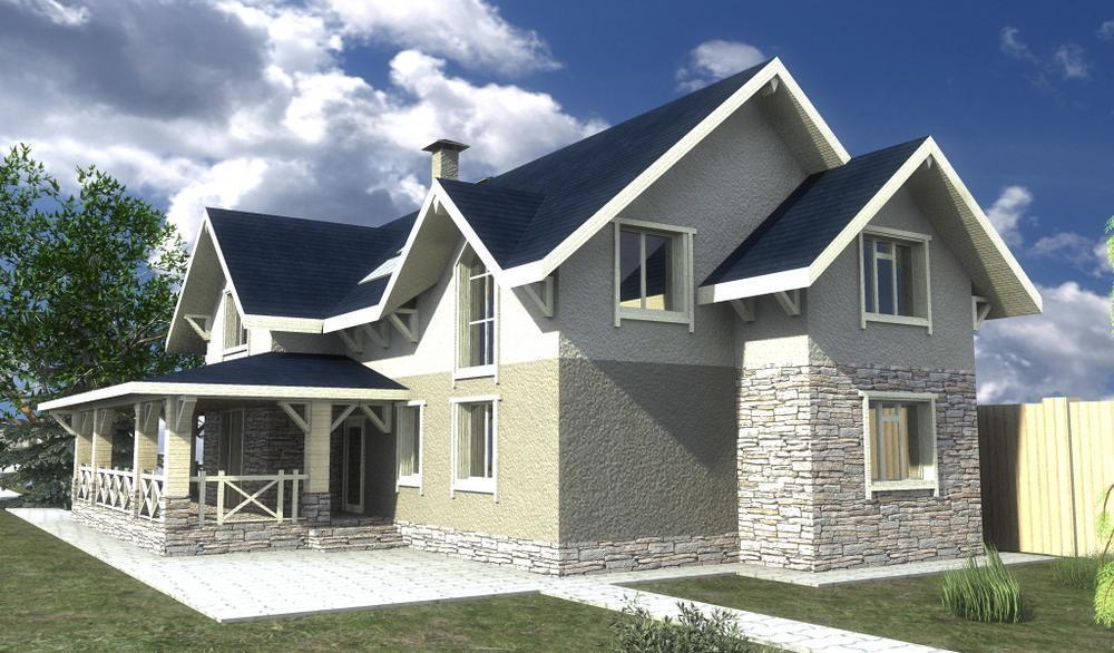 Монпарнас F-064. Проект дома с мансардой, на 4 спальни, с угловой террасой