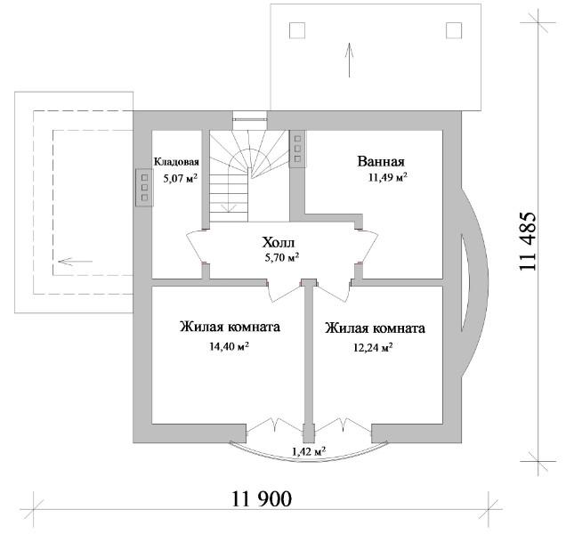 Монреаль B-101. Мансардный дом с двумя спальнями и террасой