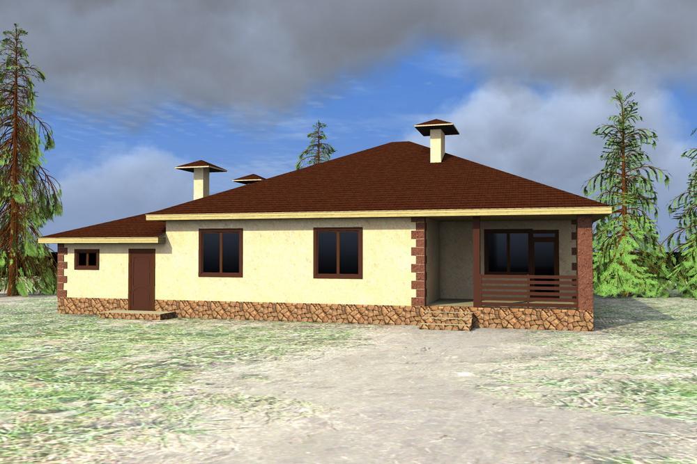 Монсеррат D-087. Проект одноэтажного дома на 3 спальни, с гаражом и террасой