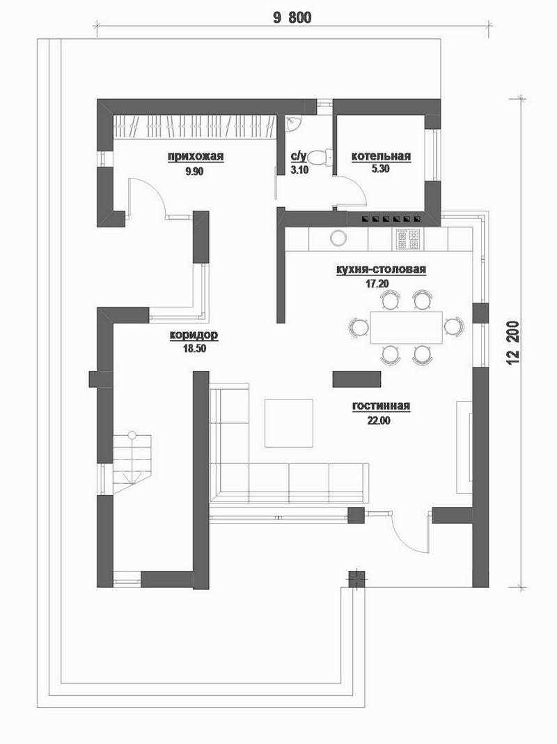 Монтана C-176 с видеообзором. Проект современного двухэтажного дома с двумя спальнями и балконами