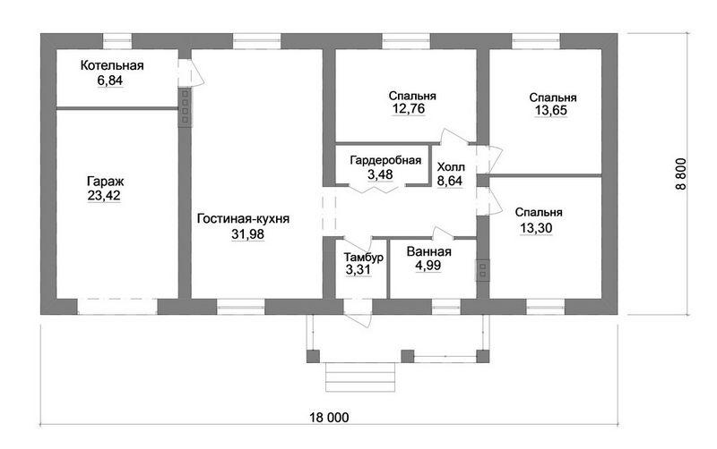 Мотив B-172. Проект простого дома с тремя спальнями и гаражом