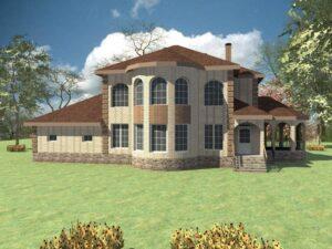 Mr Miller E-023. Проект двухэтажного коттеджа с тремя спальнями, гаражом и полукруглой террасой