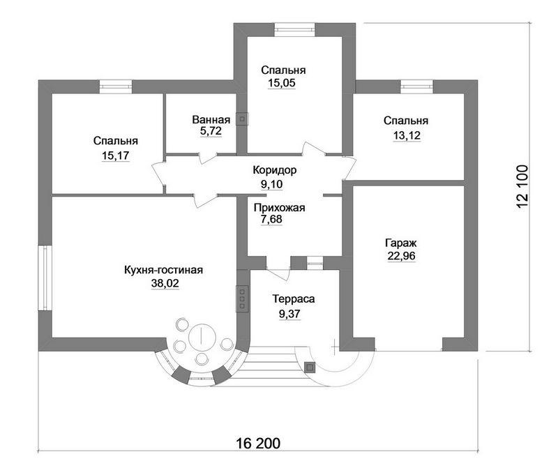 Мурад B-161. Проект одноэтажного дома на 3 спальни, с гаражом и террасой