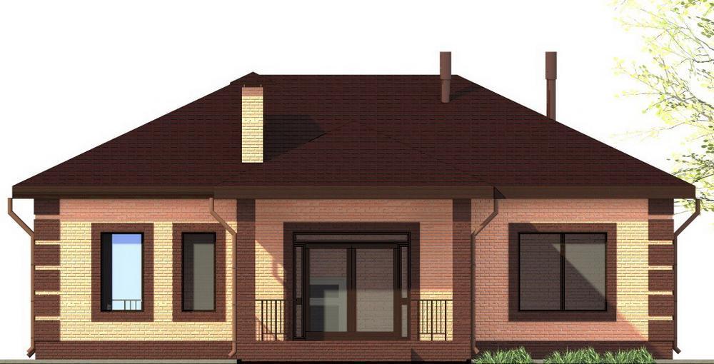 Наклад B-231. Проект одноэтажного дома с тремя спальнями и террасой