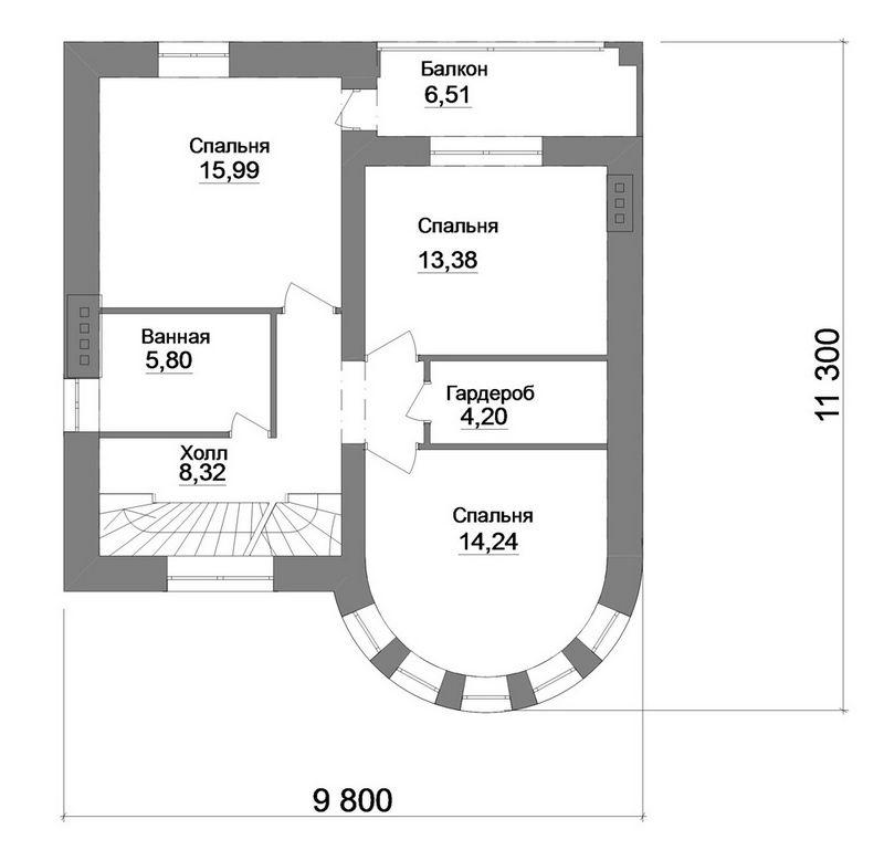 Наместник D-076. Проект 2-этажного дома с пристроенным гаражом и банным комплексом, с террасой