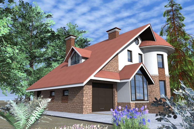 Намиб D-055. Проект одноэтажного коттеджа с мансардой на 2 спальни, с пристроенным гаражом
