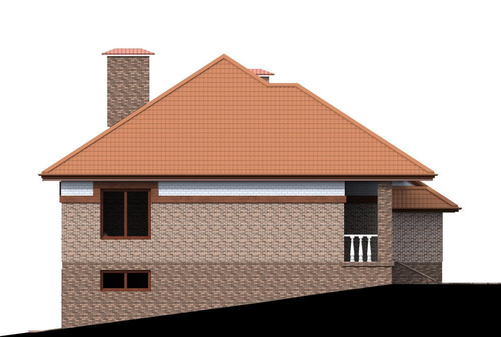 Нарзан D-056. Проект одноэтажного дома с цокольным этажом для нестандартного участка