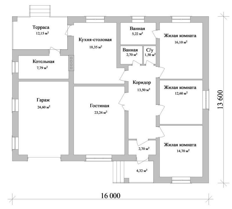 Натив B-087. Проект одноэтажного дома на 3 спальни, с гаражом и небольшой террасой