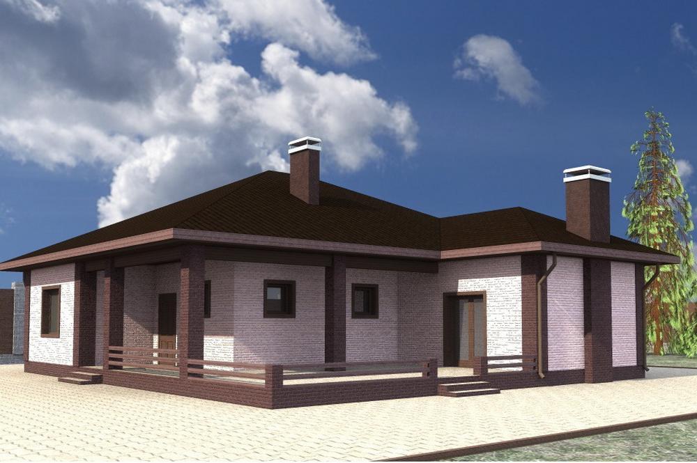 НесторC-222. Проект одноэтажного дома на 3 спальни, с большой террасой