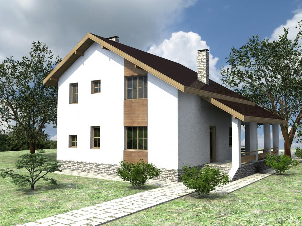 Нить Ариадны D-107. Проект мансардного дома на 4 спальни, с угловой террасой