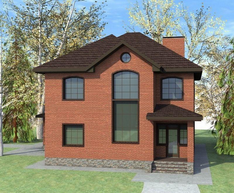 Нобель C-202. Проект двухэтажного коттеджа с 4 спальнями и террасой