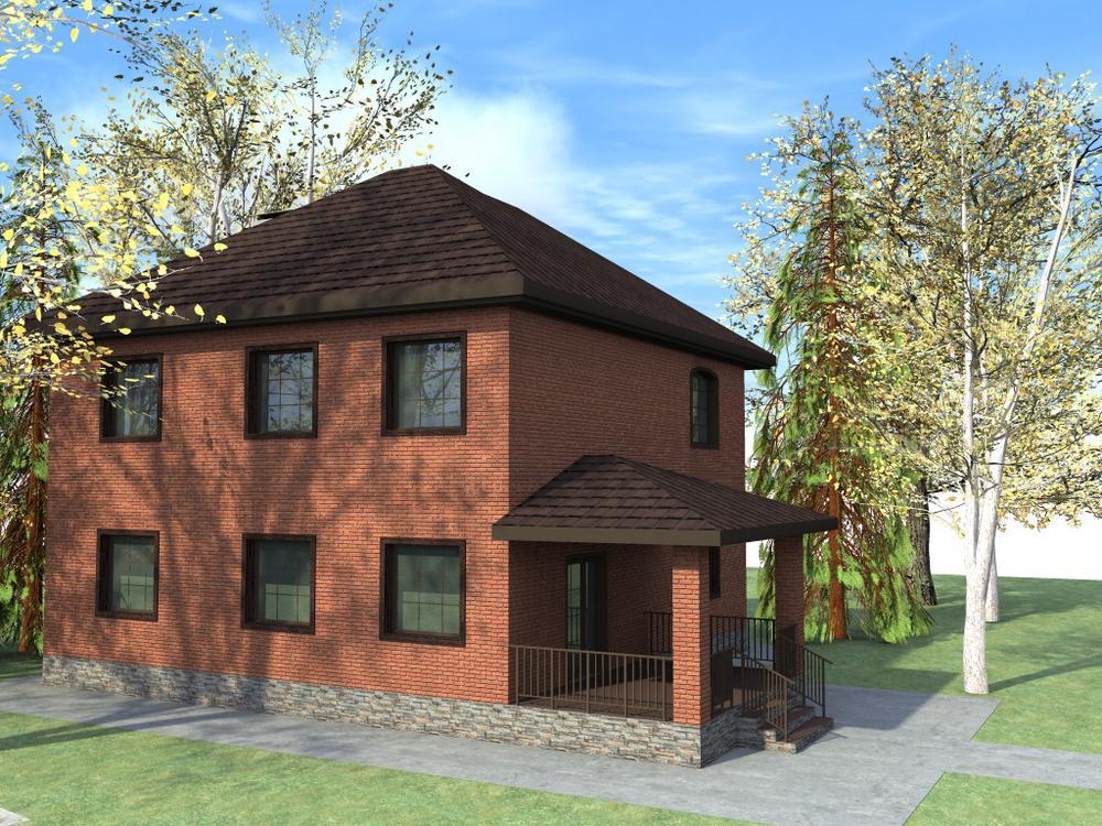 Нобель C-202. Проект двухэтажного коттеджа с 4 спальнями и террасойНобель C-202. Проект двухэтажного коттеджа с 4 спальнями и террасой