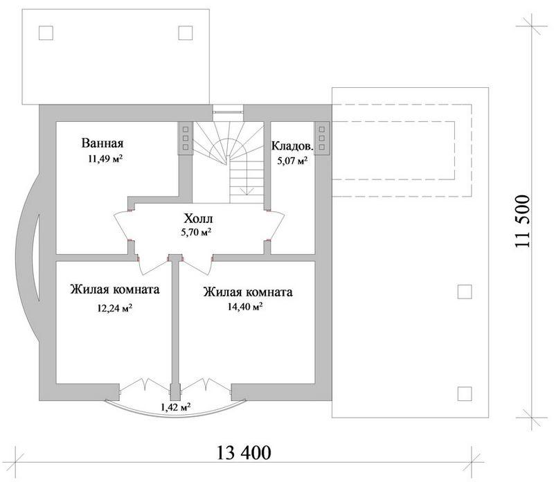 Норидж B-100. Проект коттеджа с мансардой на 2 спальни, с навесом для автомобиля