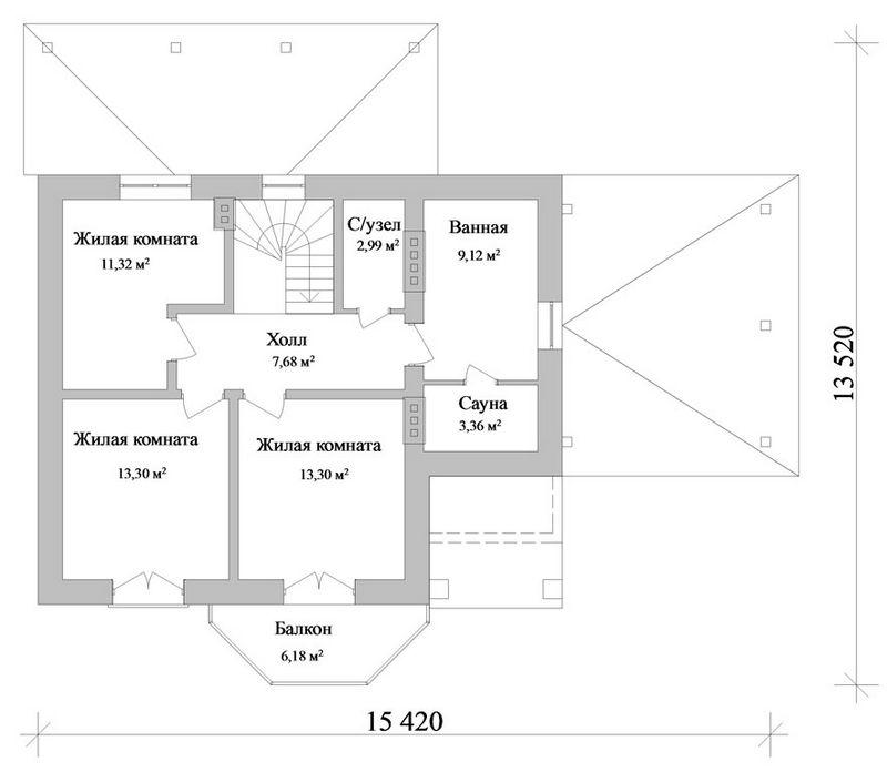 НОШ C-098. Проект коттеджа с мансардой, на три спальни, с террасой