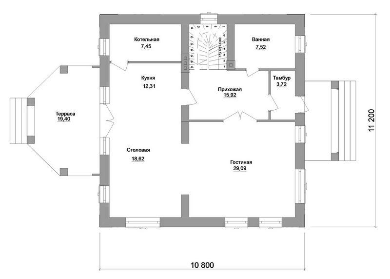 Ноттингем D-069. Проект мансардного дома в стиле Старой Европы, с пристроенной террасой