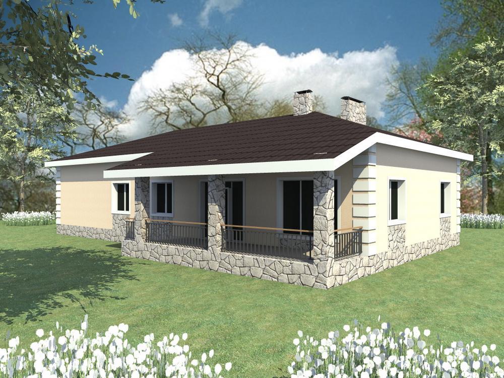 Новак C-114. Проект дома на 3 спальни, с гаражом и двумя террасами