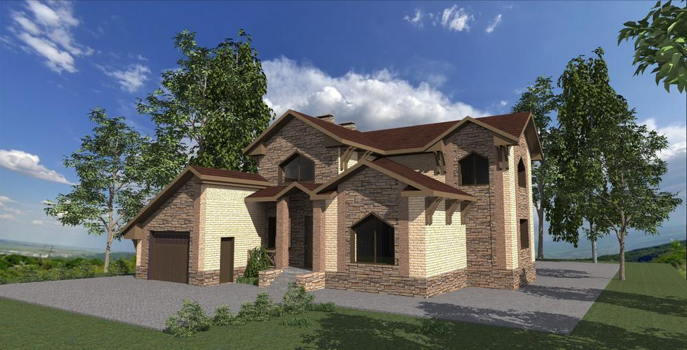 Нувориш F-067. Проект двухэтажного коттеджа с цокольным этажом, на 3 спальни, с гостиной, гаражом