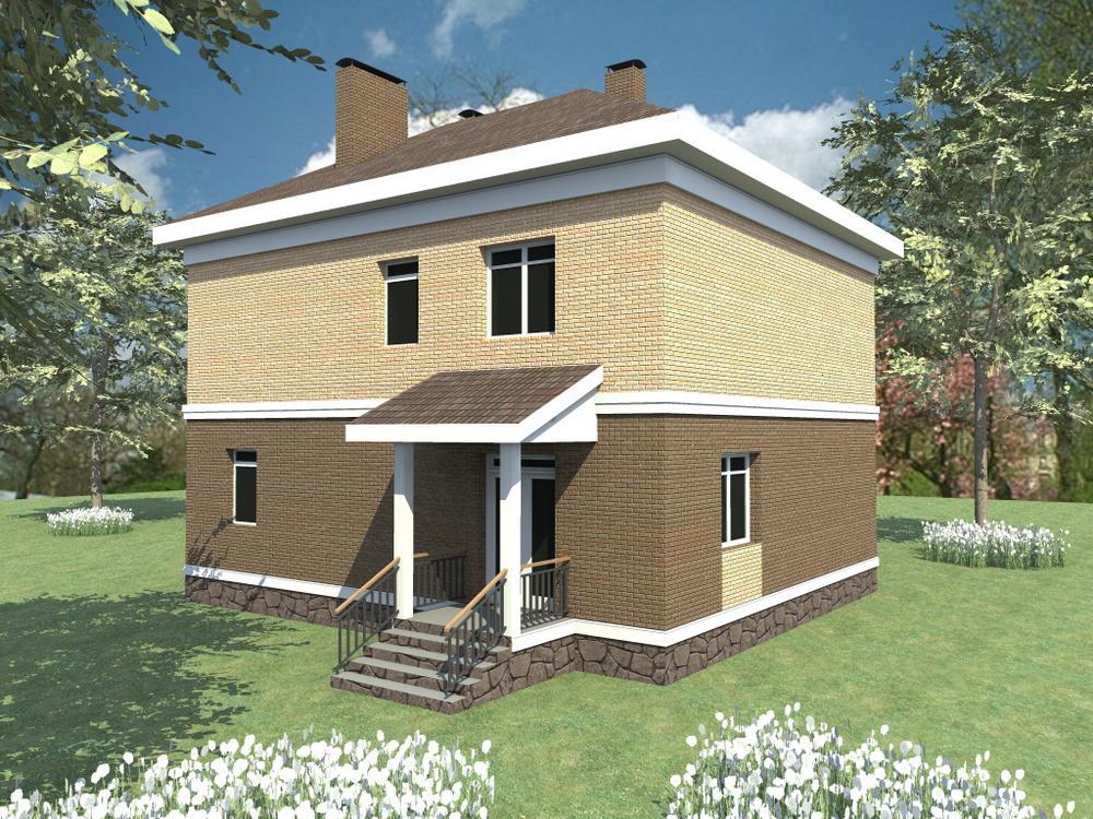 Оферент C-115. Проект двухэтажного дома на 3 спальни, с эркером и балконом
