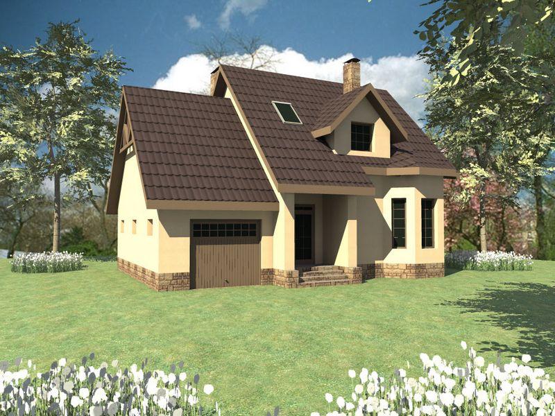 Олби B-092. Проект одноэтажного дома с мансардой и гаражом, на 3 спальни