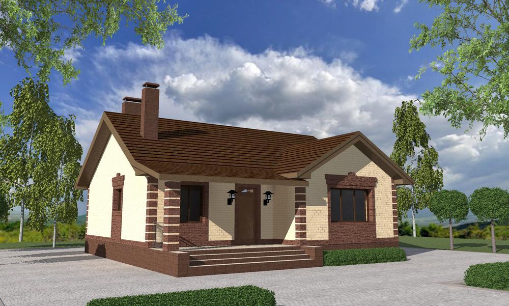 Орлан A-079. Проект простого одноэтажного дома на 2 спальни с гардеробными