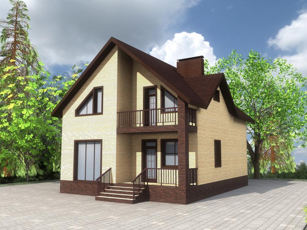 Ортис C-239. Проект дома с мансардой, четырьмя спальнями, террасой и подвалом