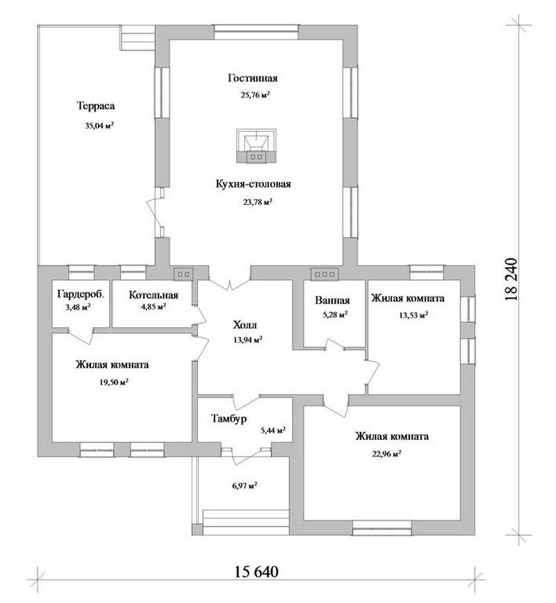 Отис C-092. Проект одноэтажного дома с тремя спальнями и большой террасой