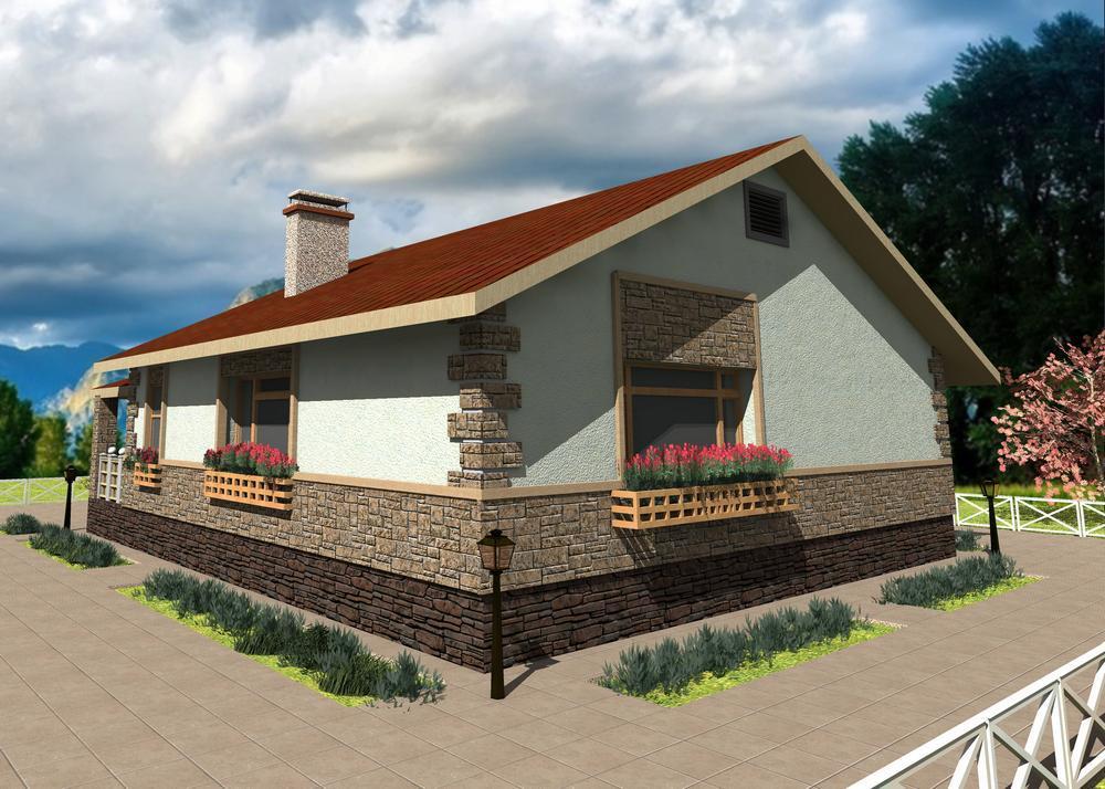 Отори B-138. Проект одноэтажного дома на 2 спальни с простой планировкой и большой террасой