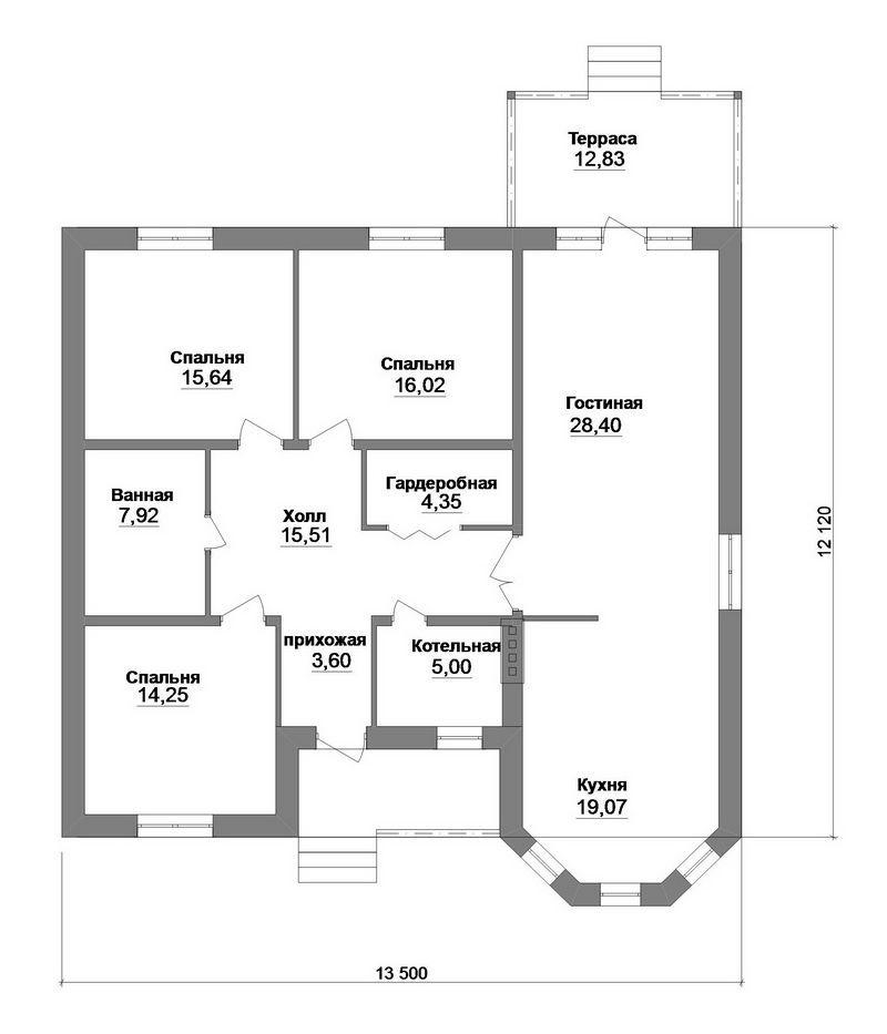 Панакота B-193. Проект одноэтажного дома с тремя спальнями, большой гостиной и террасой