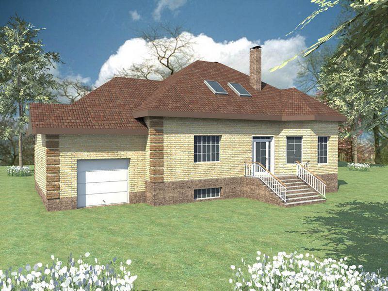 Папирус F-038. Проект мансардного дома на 3 спальни + кабинет, с функциональным цокольным этажом, гаражом