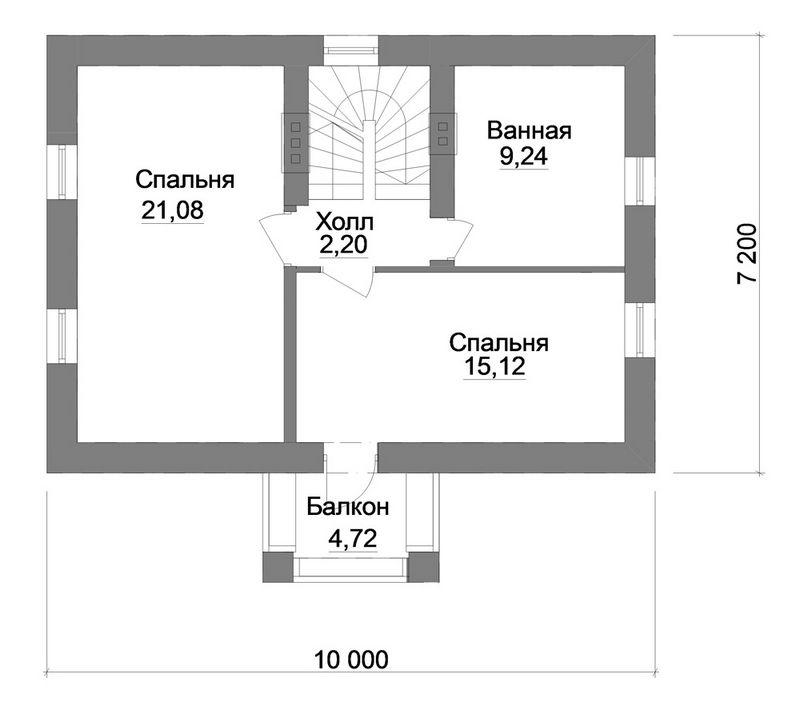 Парадигма B-153. Проект мансардного коттеджа с необычным фасадом, на 3 спальни