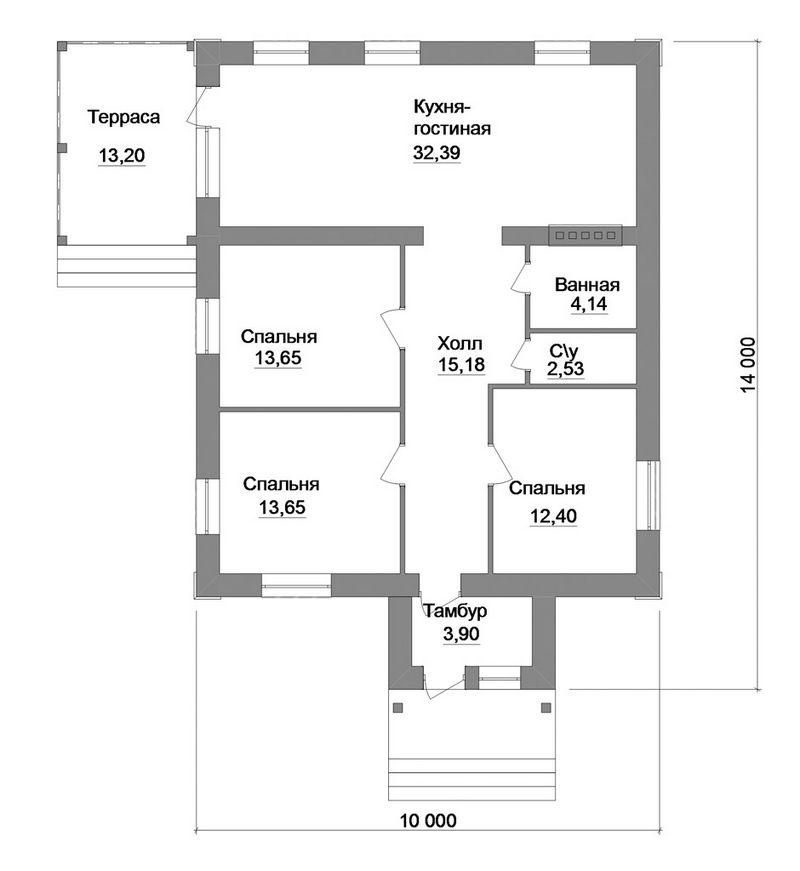 Парафраз B-136. Проект 1-этажного коттеджа на 3 спальни