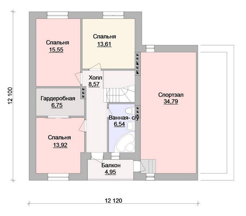 Параграф F-060. Проект мансардного коттеджа на 3 спальни, с цокольным этажом, пристроенным гаражом и террасой
