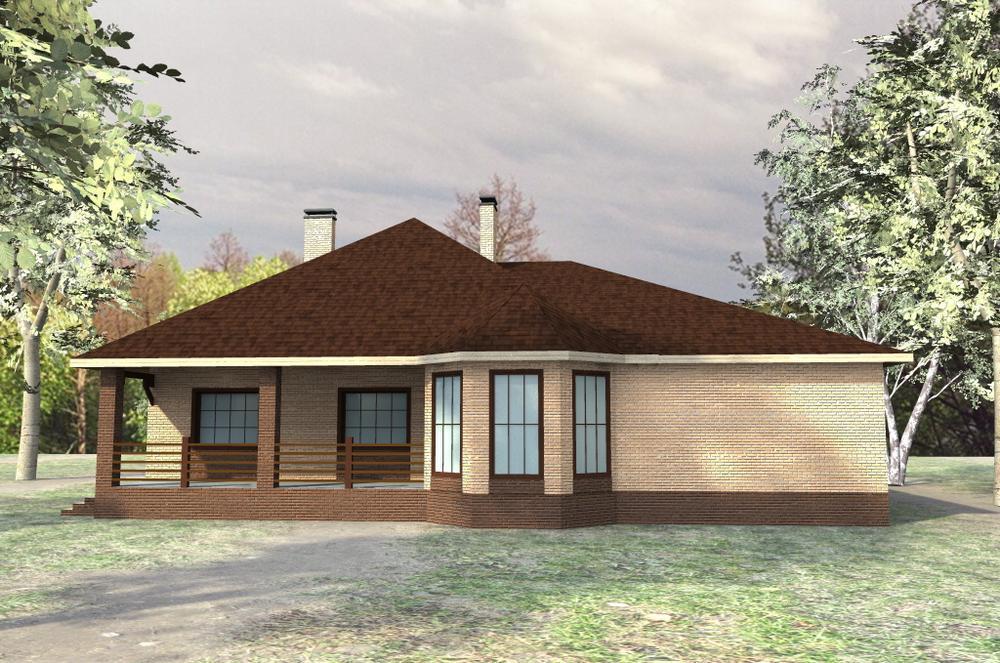 Парагвай D-075. Проект одноэтажного дома на 3 спальни, с гаражом