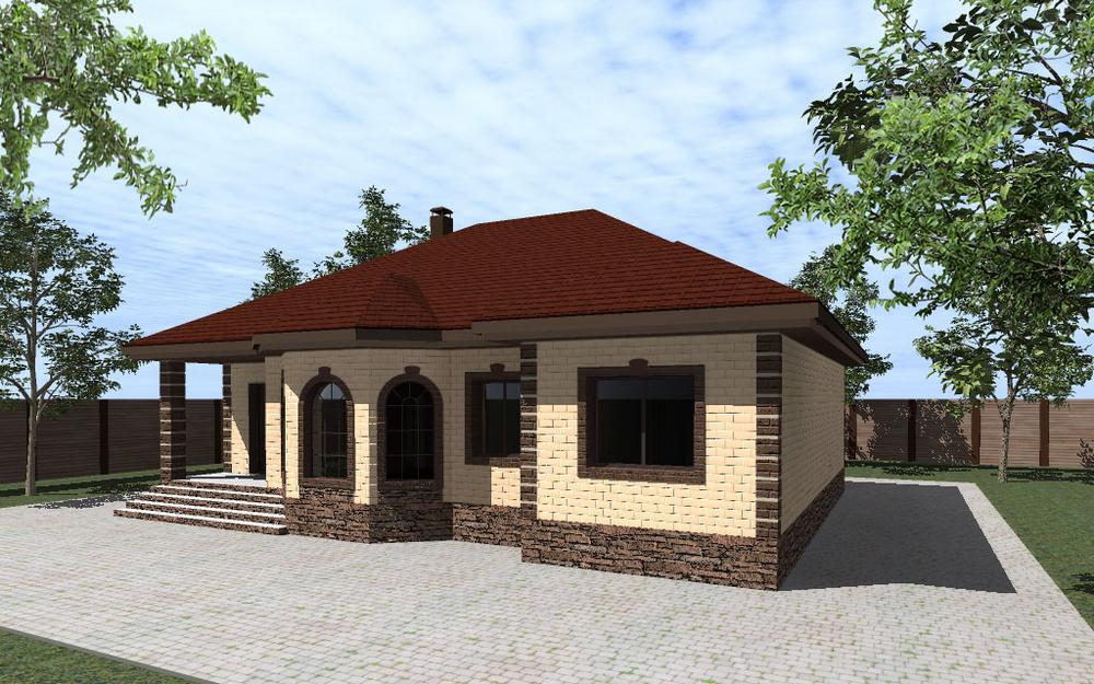 Патриций B-233. Проект одноэтажного дома на 3 спальни, с кабинетом, гостиная с эркером