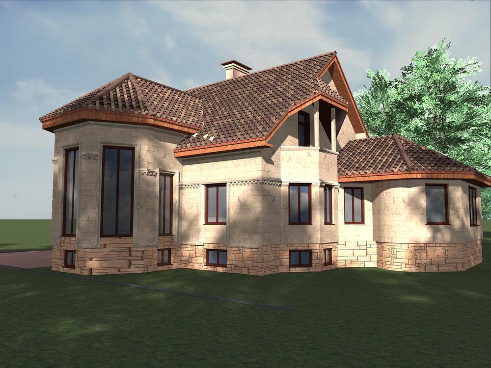 Персид F-050. Проект большого мансардного коттеджа с цокольным этажом, баней, гаражом, на 3 спальни