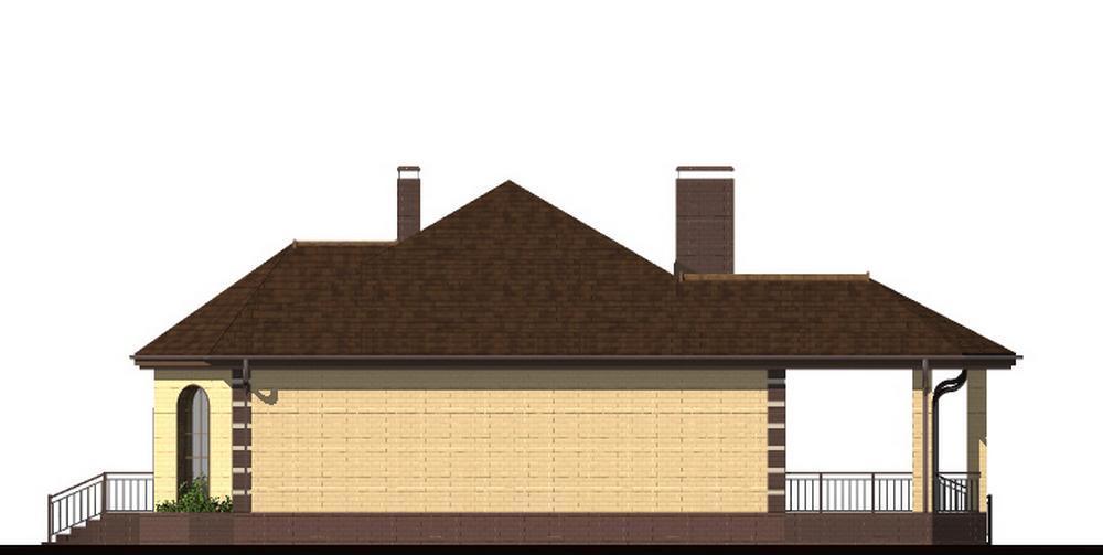 Персиваль B-214. Проект одноэтажного дома на 2 спальни, с большой террасой