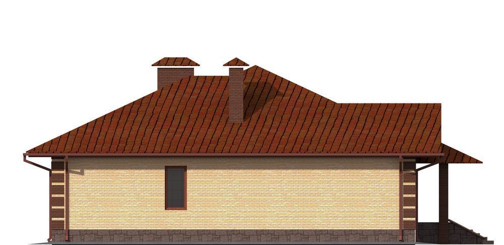 Петрос C-118. Проект комфортабельного коттеджа на 3 спальни с парилкой, террасой, подвалом и пристроенным гаражом